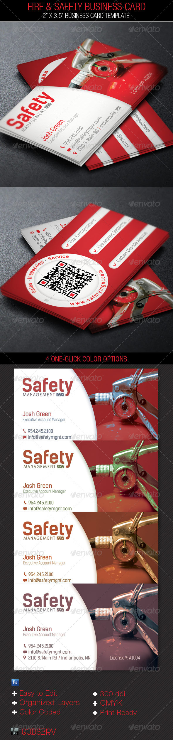 Fire and Safety Service Business Card Template - Industry Specific Business Cards