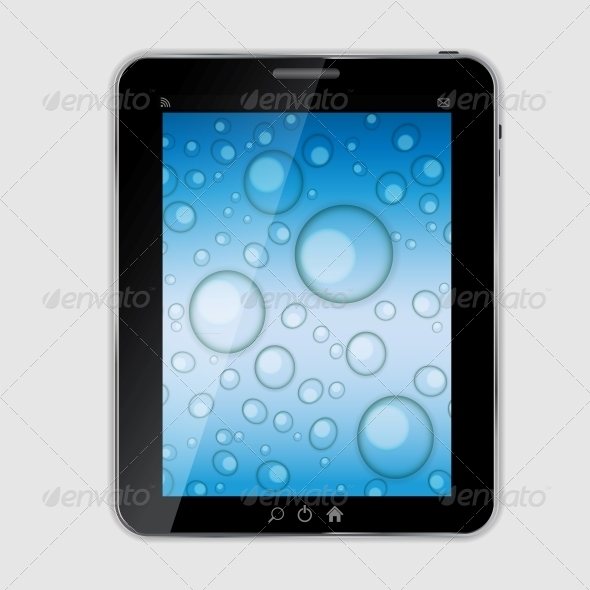 GraphicRiver Tablet Icon Vector Illustration with Waterdrops 4786377