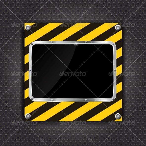 GraphicRiver Glossy Black Plate on a Construction Background 4786421