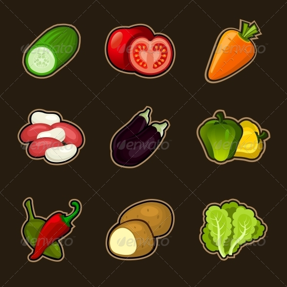 GraphicRiver Glossy Vegetable Set 4789745