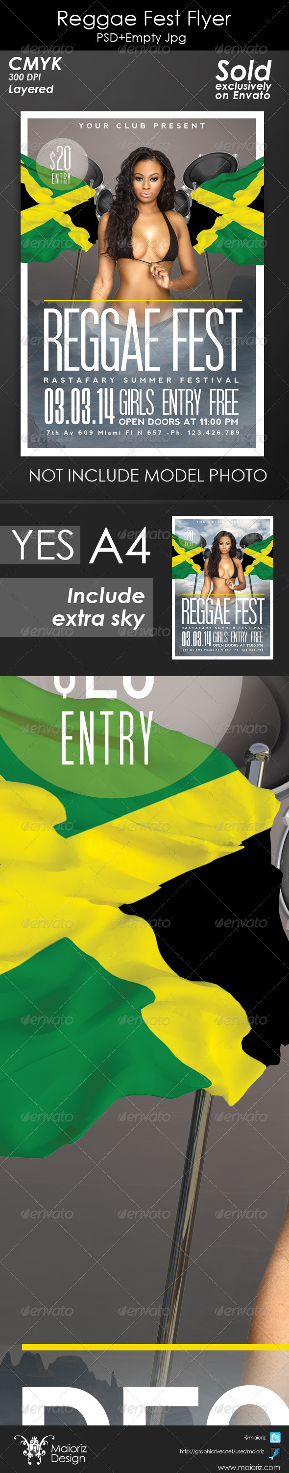 Reggae Fest Flyer - Concerts Events