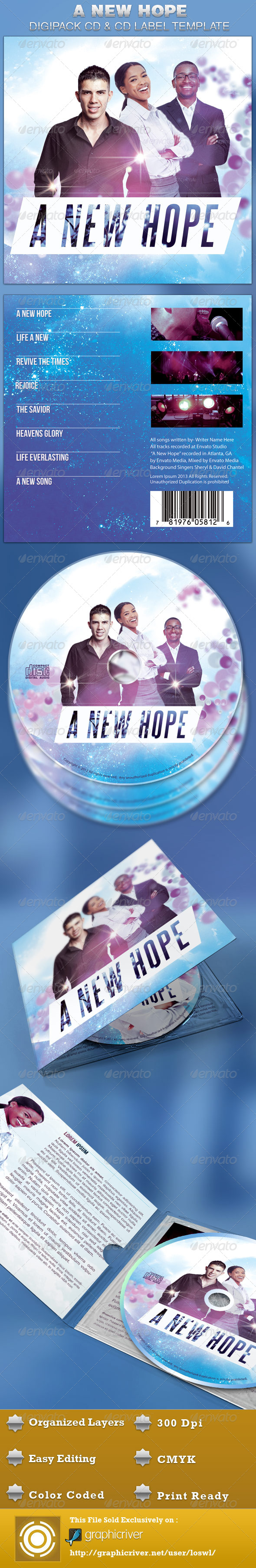 A New Hope Digipack CD Artwork Template  - CD & DVD artwork Print Templates
