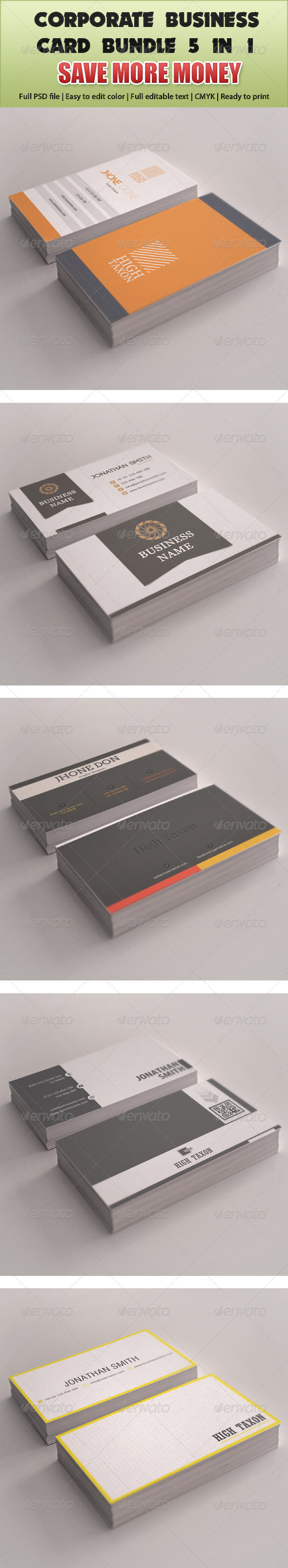 Corporate Business Card Mega Bundle 5 in 1 - Corporate Business Cards