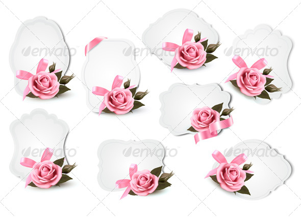 GraphicRiver Collection of Holiday Greeting Cards with Pink Roses 4792998