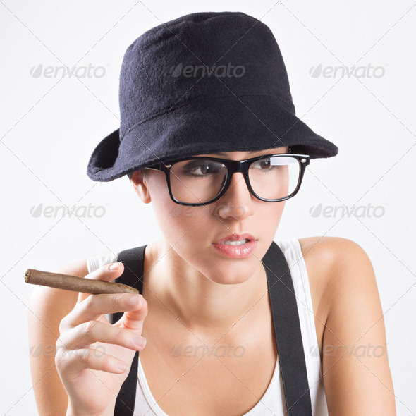 Pretty woman dressed like a retro man - Stock Photo - Images