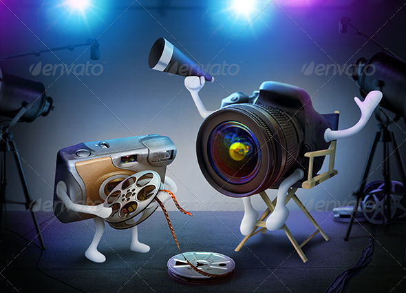 GraphicRiver DSLR Director And Throwaway Assistant On A Movie 4728314