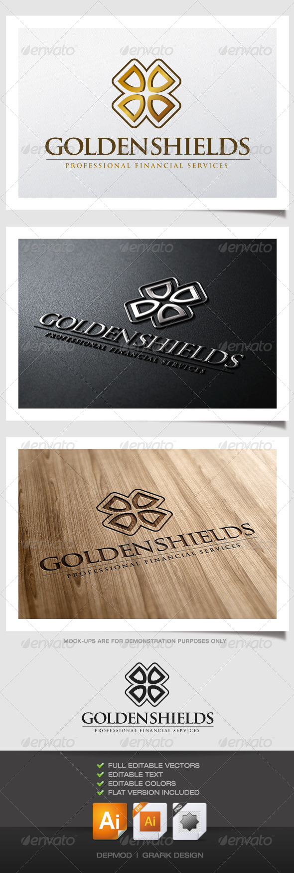 GraphicRiver Golden Shields Logo 4796813
