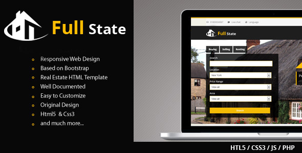 ThemeForest Full State Responsive and Bootstrap Real State 4800556