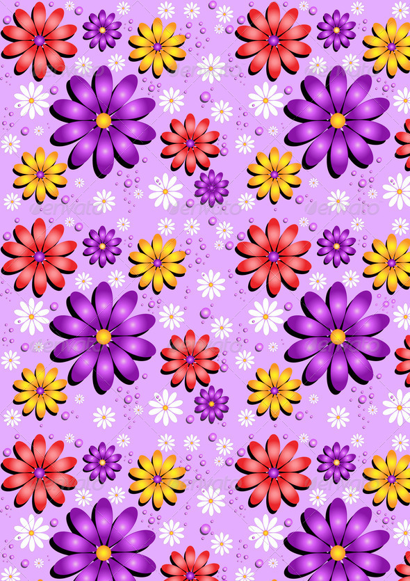 Gentle Purple Seamless Background with Flowers - Stock Photo - Images