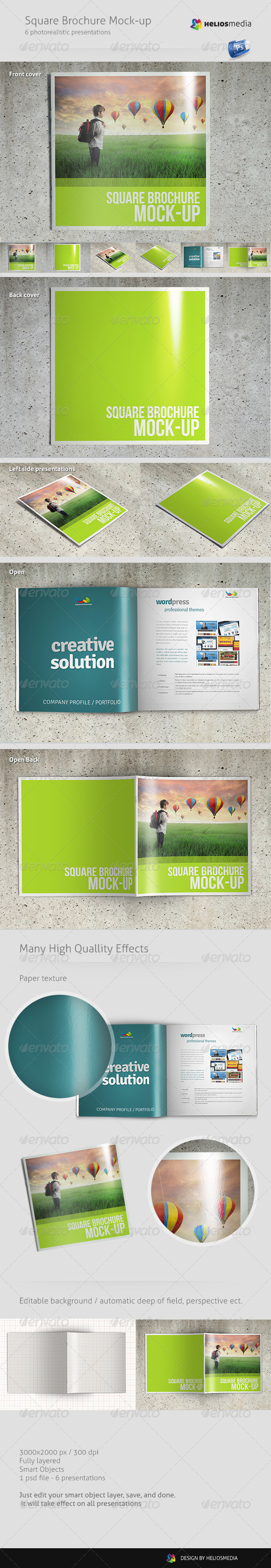 GraphicRiver Square Brochure Mock-up 4801891