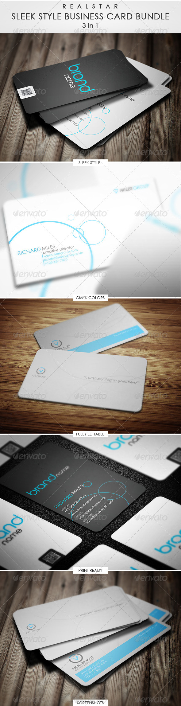 Sleek Business Card Bundle - Corporate Business Cards