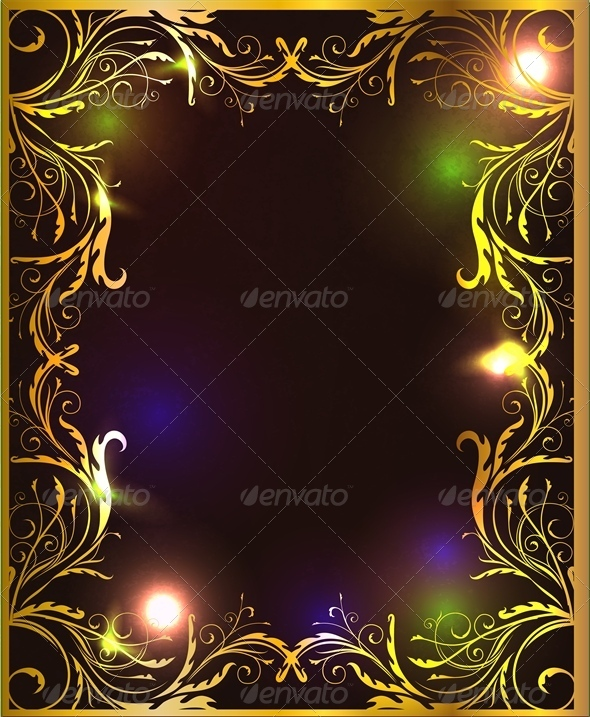 GraphicRiver Green and Gold Frame with Glossy Surface 4803199