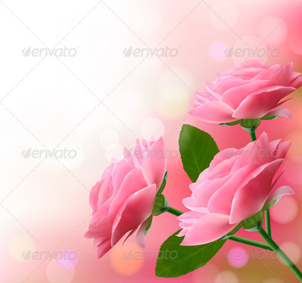 GraphicRiver Holiday Background with Three Pink Flowers 4792940