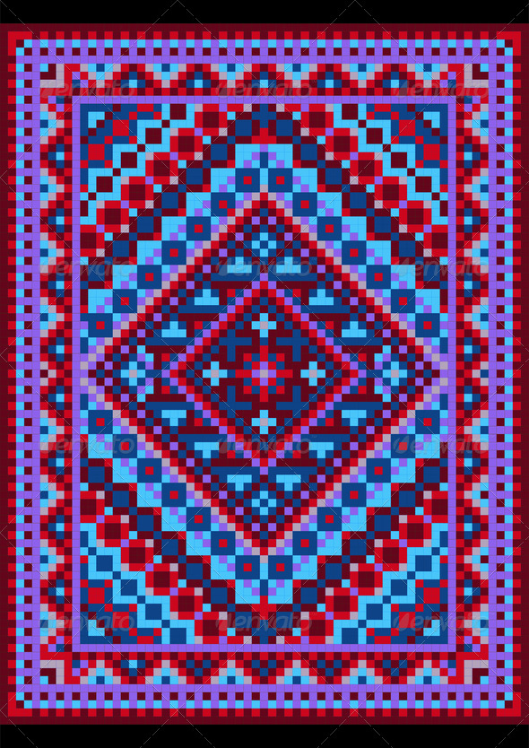 Vivid Carpet Old Style in Blue and Purple Shades - Stock Photo - Images