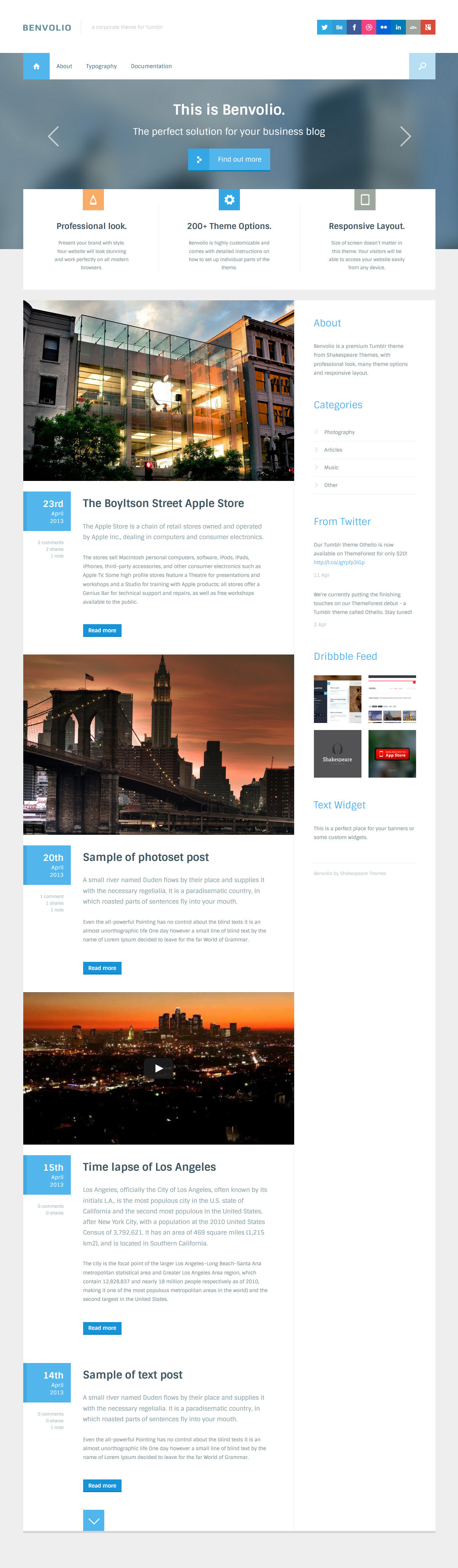 Benvolio - A Business Tumblr Theme
