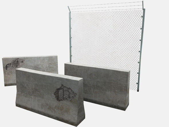 Concrete Barrier and Fence - 3DOcean Item for Sale