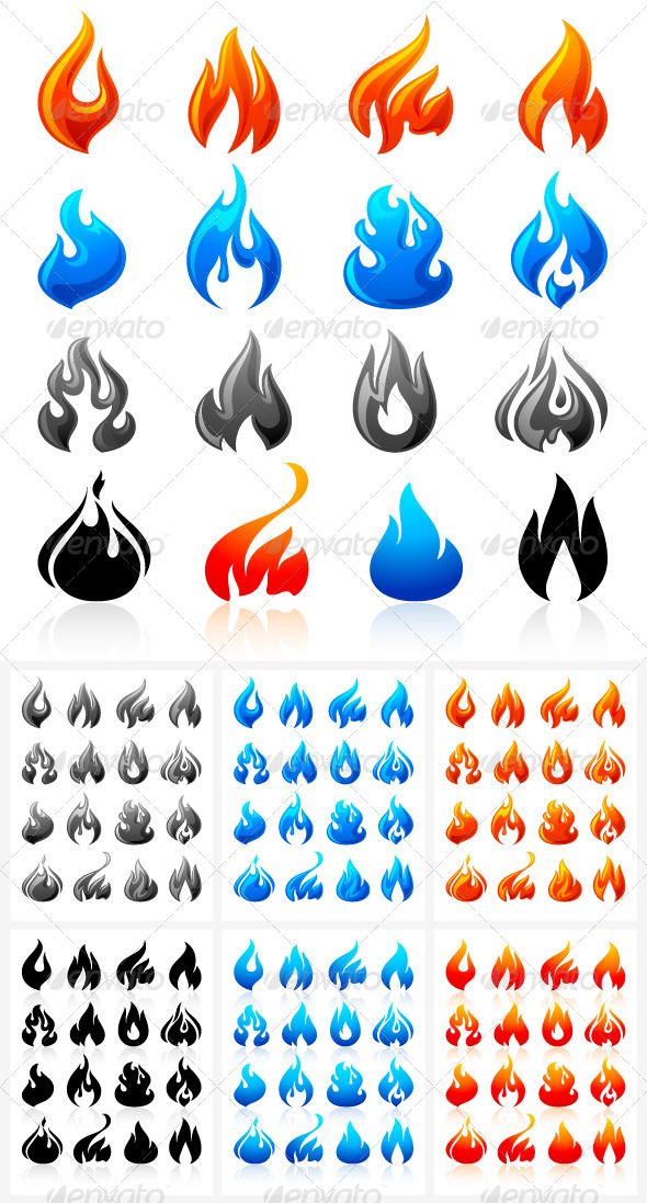 GraphicRiver 16 Flames of Fire in Set Colored 96 icons 4806774