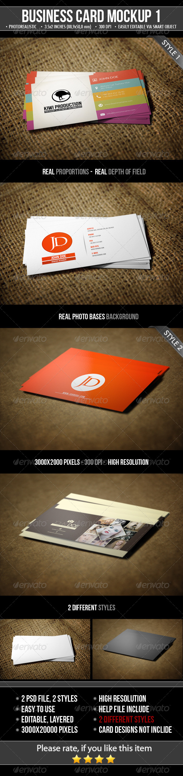 GraphicRiver 2 Realistic Business Card Mock-Ups 4807343
