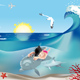 Swimming Child with Dolphins  - GraphicRiver Item for Sale