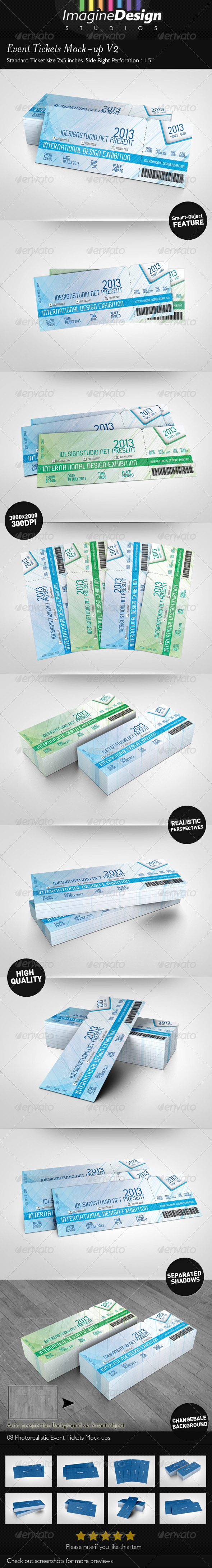 Event Tickets Mock-up V2 - Miscellaneous Print