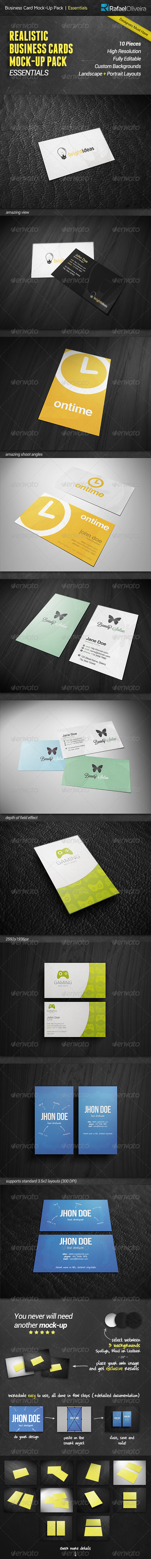 Business Cards Mock-Up Pack | Essentials - Business Cards Print