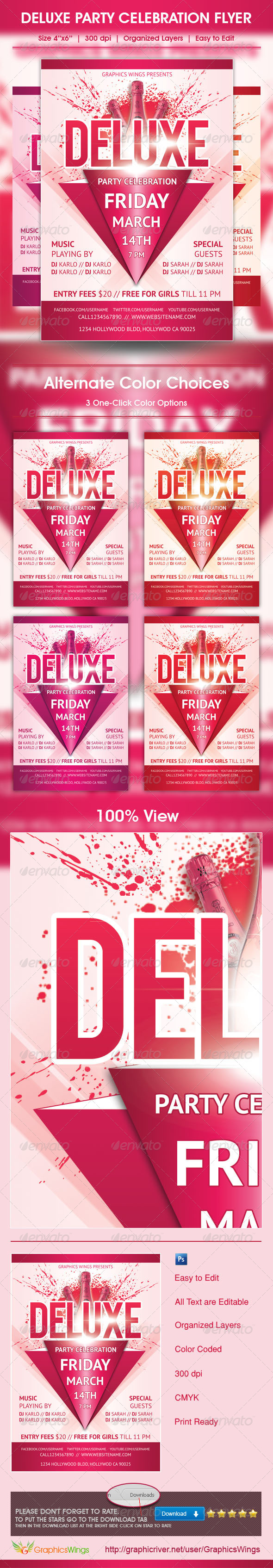 GraphicRiver Deluxe Party Celebration Flyer Template 4720870