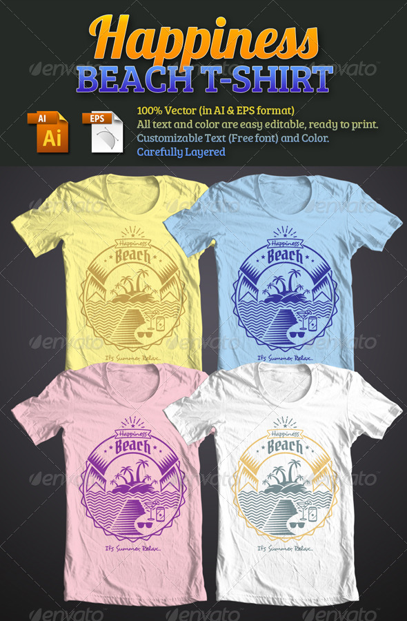 GraphicRiver Happiness Beach T-Shirt 4817080