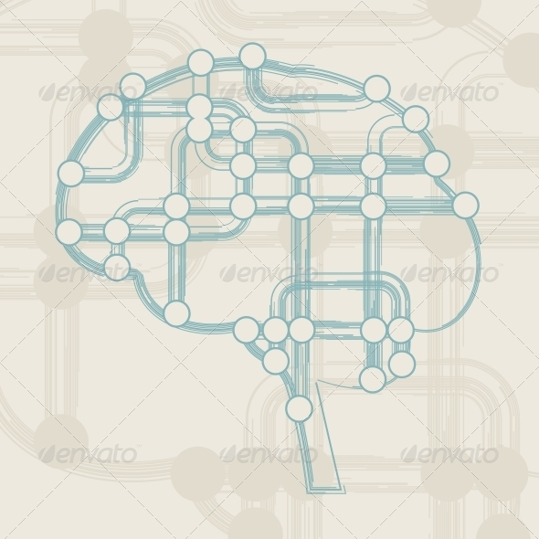 GraphicRiver Retro Circuit Board form of Brain 4817354