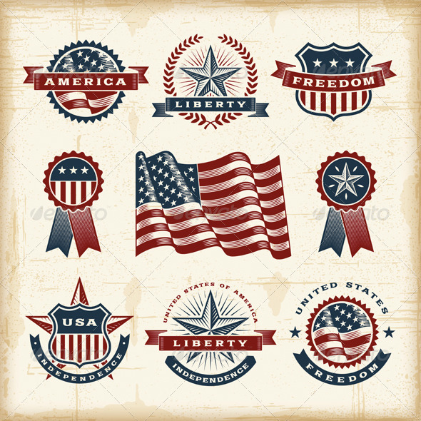 GraphicRiver Vintage American Labels Set 4817809
