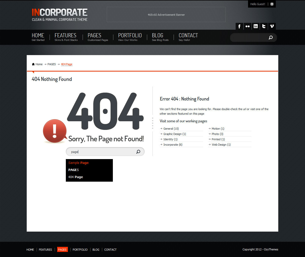 Incorporate WordPress Template - 404 page with working pages and auto-complete supported search bar