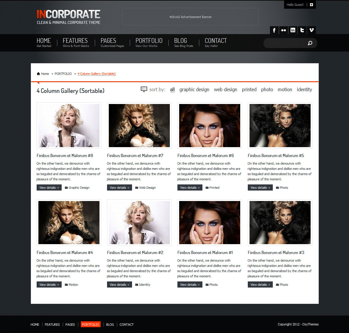 Incorporate WordPress Template - 4 Column portfolio listing page