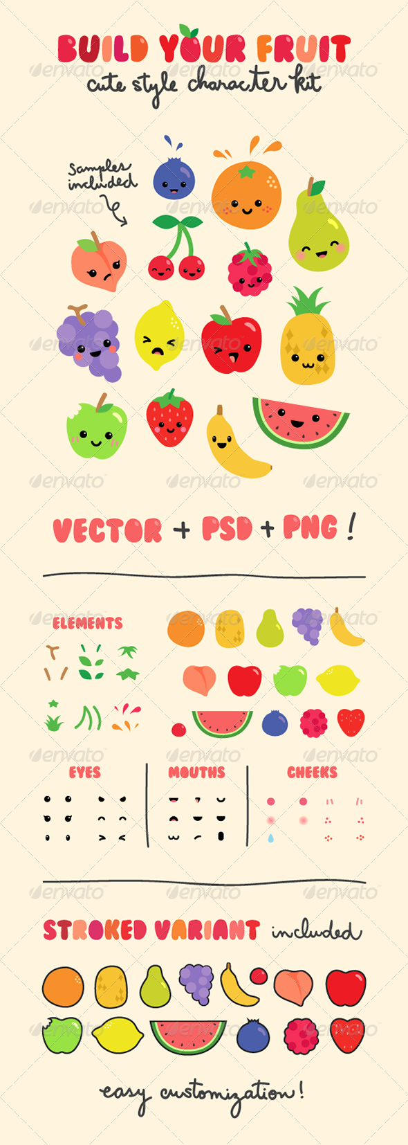 GraphicRiver Fruit Character Creation Kit 4810805