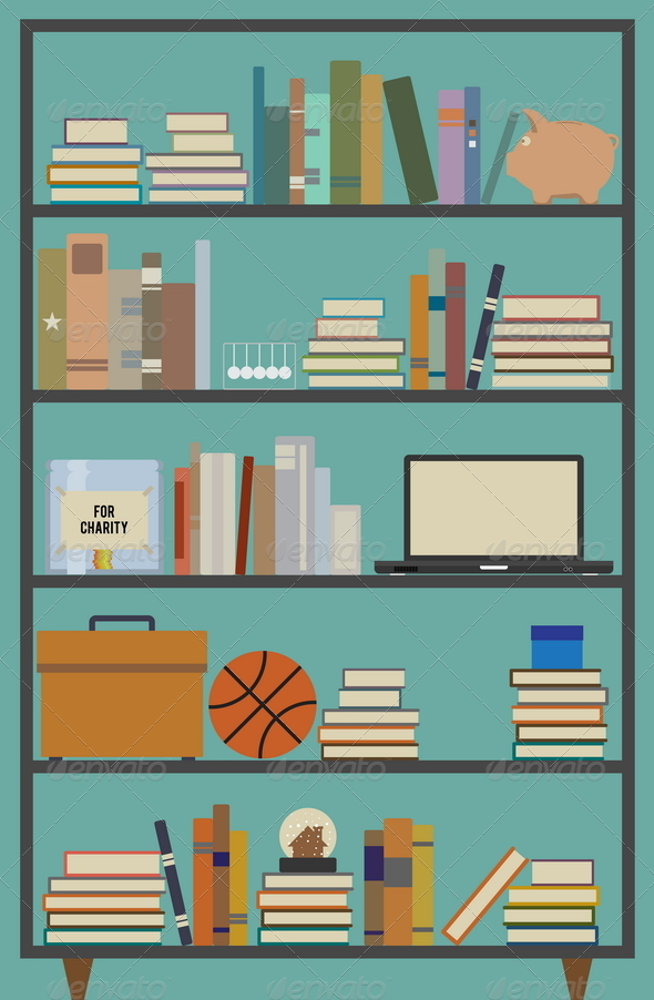 GraphicRiver Retro Bookshelf 4819266