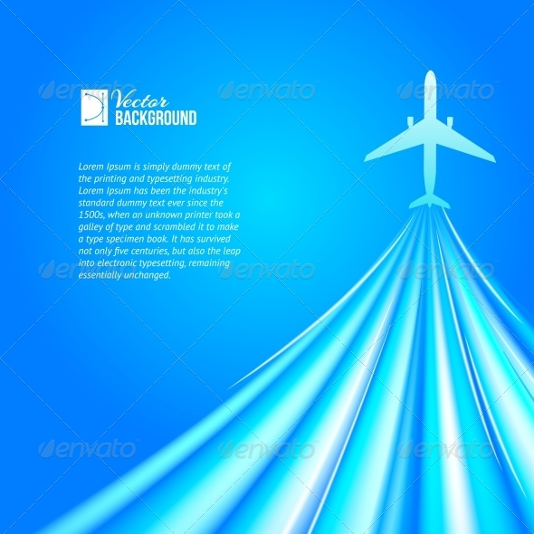 GraphicRiver Airplane over Blue Background 4819429