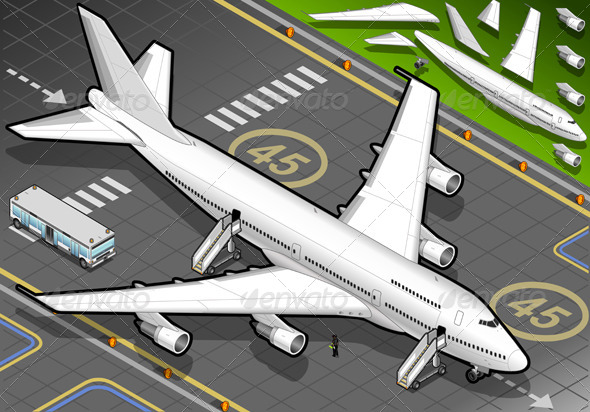 GraphicRiver Isometric White Airplane in Front View 4821043
