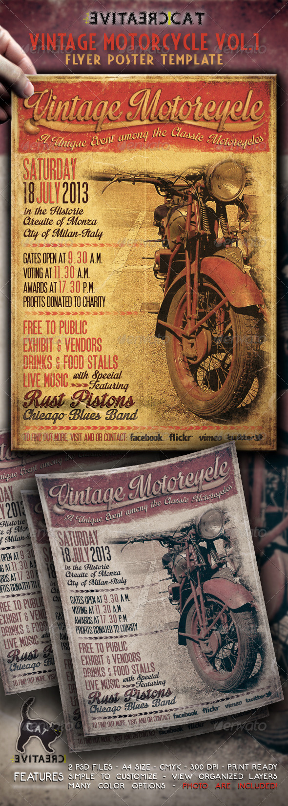 GraphicRiver Vintage Motorcycle Flyer Poster Vol.1 4822168