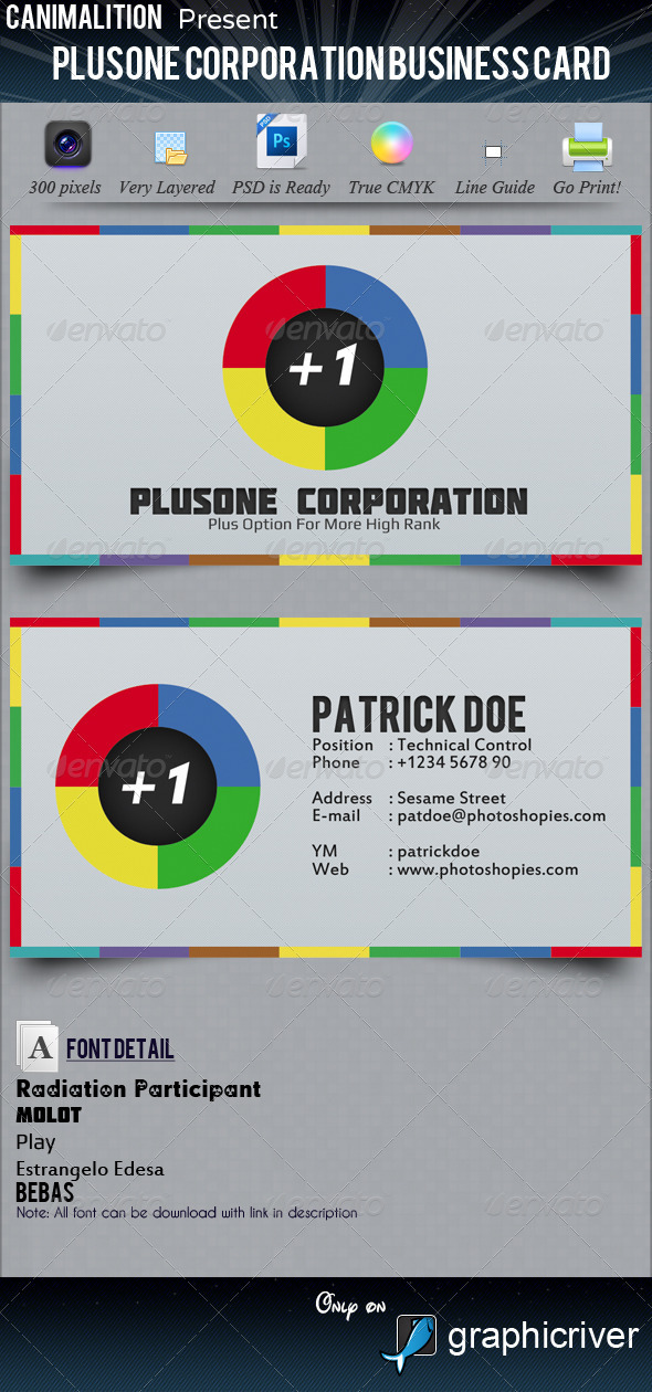 PlusOne Corporation Business Cards - Corporate Business Cards