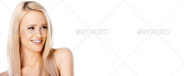 Blond woman is looking at right - Stock Photo - Images