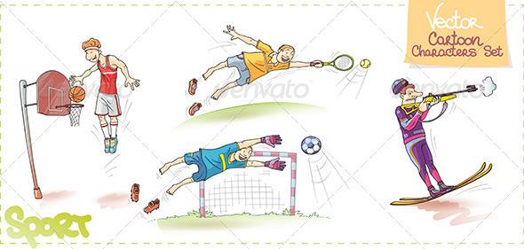 GraphicRiver Vector Cartoon Sports Characters Set 4823528