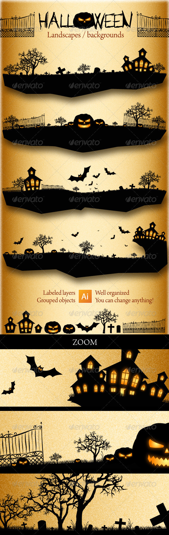 Halloween Landscapes / Backgrounds - Backgrounds Decorative