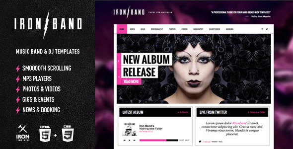 IronBand - Responsive Music Band & DJ template - Music and Bands Entertainment