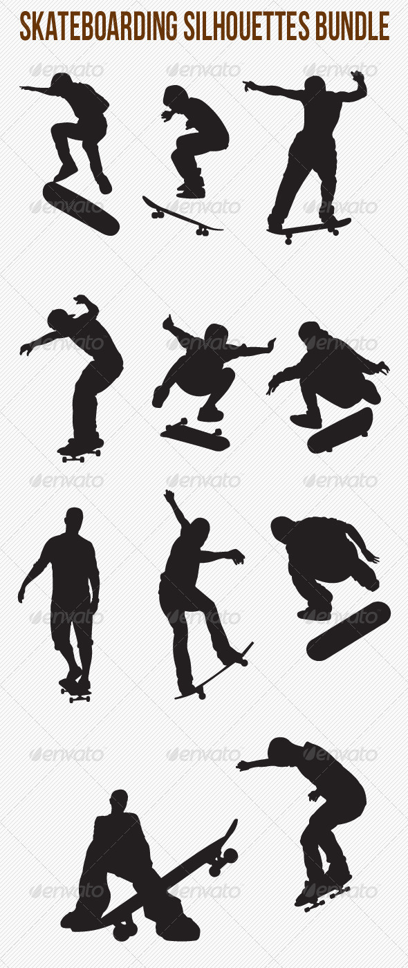 GraphicRiver Skateboarding Silhouettes Bundle 4826193