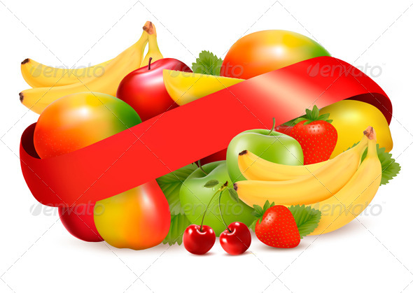 GraphicRiver Group of Summer and Tropical Fruit with Ribbon 4826333