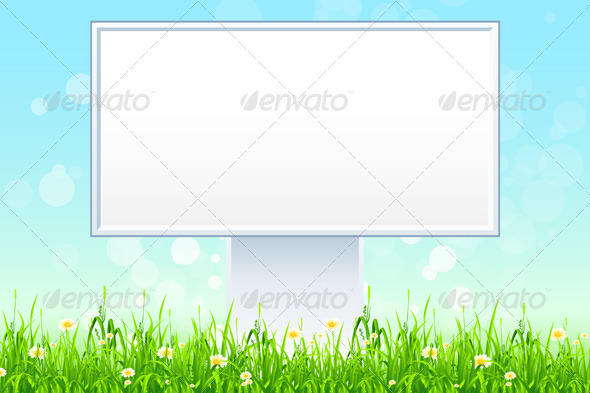 GraphicRiver Empty Billboard in the Grass 4826366
