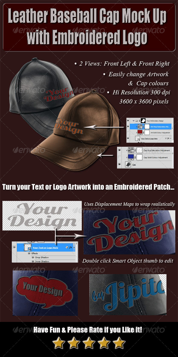 GraphicRiver Leather Baseball Cap Mock Up with Embroidered Logo 4826964