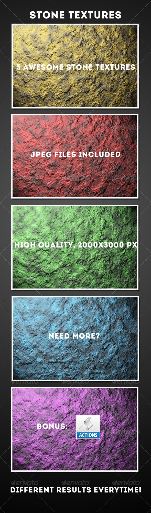 GraphicRiver 5 Colorful Stone Textures & Action 4827284