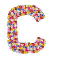 C, letter of the alphabet in different flowers isolated on white background - PhotoDune Item for Sale