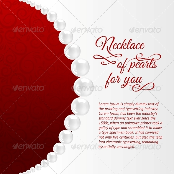 GraphicRiver Pearl Necklace on Red 4827586