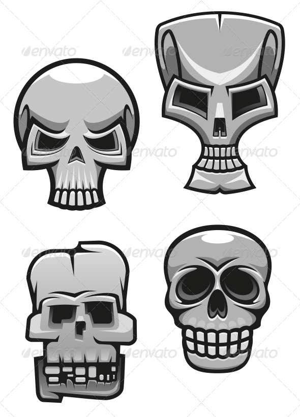 GraphicRiver Set of Monster Skull Mascots 4828844