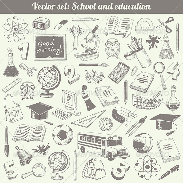GraphicRiver School and Education Vector Set 4831631